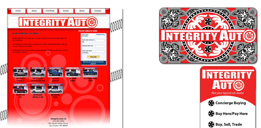 Integrity Auto: Website, Business Card, Tee Design